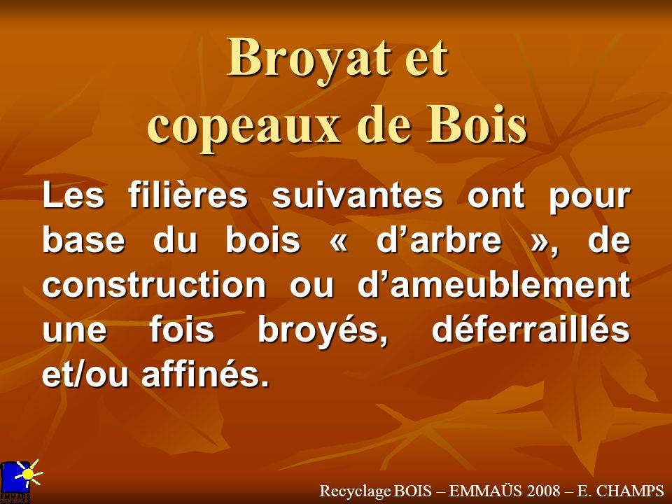 Recyclage BOIS – EMMAÜS 2008 – E. CHAMPS Broyat et copeaux de Bois Les filières suivantes ont pour base du bois « darbre », de construction ou dameubl