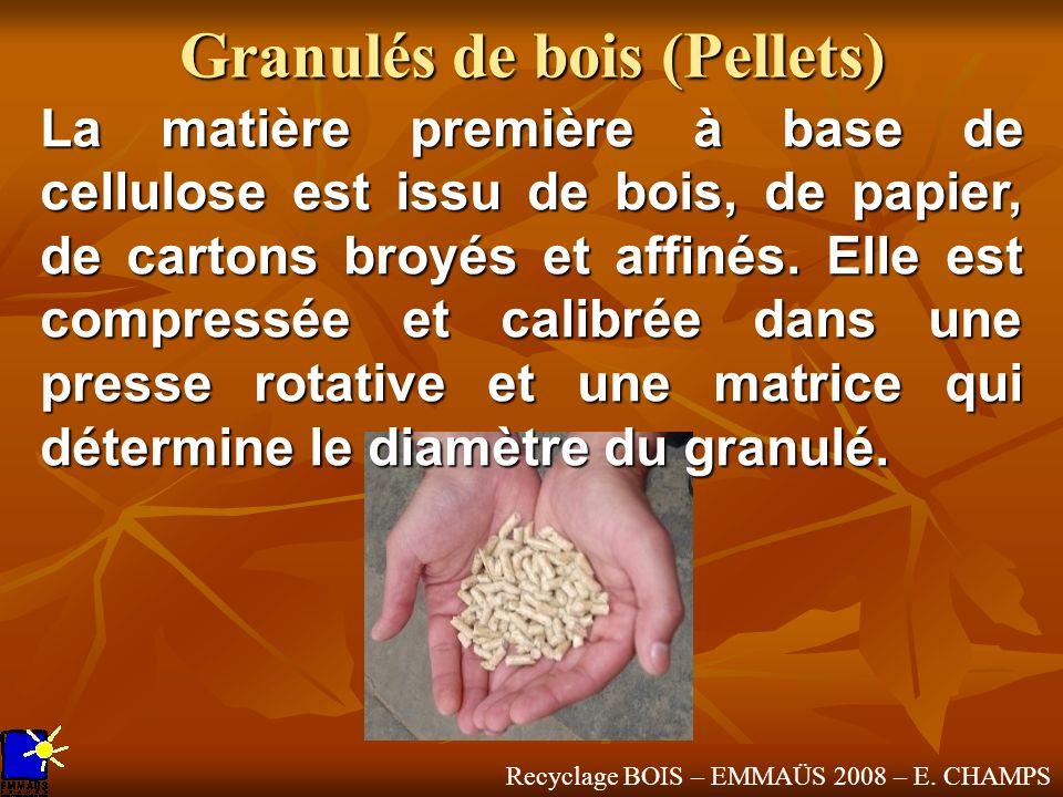Recyclage BOIS – EMMAÜS 2008 – E. CHAMPS Granulés de bois (Pellets) La matière première à base de cellulose est issu de bois, de papier, de cartons br