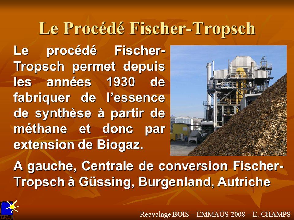 Recyclage BOIS – EMMAÜS 2008 – E. CHAMPS Le Procédé Fischer-Tropsch Le procédé Fischer- Tropsch permet depuis les années 1930 de fabriquer de lessence
