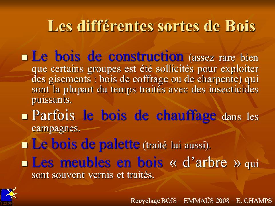Recyclage BOIS – EMMAÜS 2008 – E. CHAMPS Les différentes sortes de Bois Le bois de construction (assez rare bien que certains groupes est été sollicit