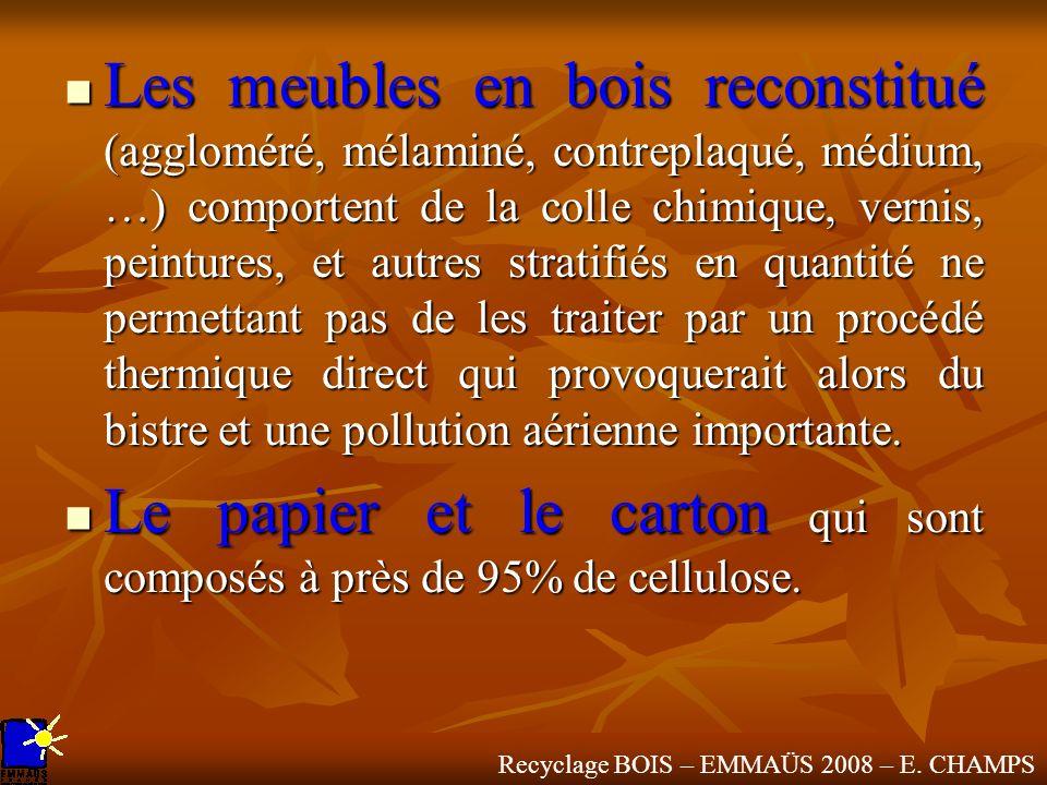 Recyclage BOIS – EMMAÜS 2008 – E. CHAMPS Les meubles en bois reconstitué (aggloméré, mélaminé, contreplaqué, médium, …) comportent de la colle chimiqu