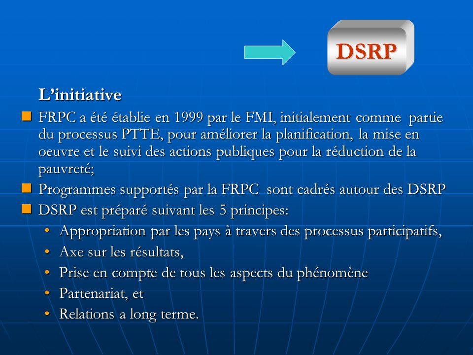 Linitiative FRPC a été établie en 1999 par le FMI, initialement comme partie du processus PTTE, pour améliorer la planification, la mise en oeuvre et le suivi des actions publiques pour la réduction de la pauvreté; FRPC a été établie en 1999 par le FMI, initialement comme partie du processus PTTE, pour améliorer la planification, la mise en oeuvre et le suivi des actions publiques pour la réduction de la pauvreté; Programmes supportés par la FRPC sont cadrés autour des DSRP Programmes supportés par la FRPC sont cadrés autour des DSRP DSRP est préparé suivant les 5 principes: DSRP est préparé suivant les 5 principes: Appropriation par les pays à travers des processus participatifs,Appropriation par les pays à travers des processus participatifs, Axe sur les résultats,Axe sur les résultats, Prise en compte de tous les aspects du phénomènePrise en compte de tous les aspects du phénomène Partenariat, etPartenariat, et Relations a long terme.Relations a long terme.