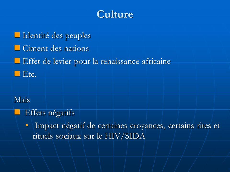 Culture Identité des peuples Identité des peuples Ciment des nations Ciment des nations Effet de levier pour la renaissance africaine Effet de levier pour la renaissance africaine Etc.