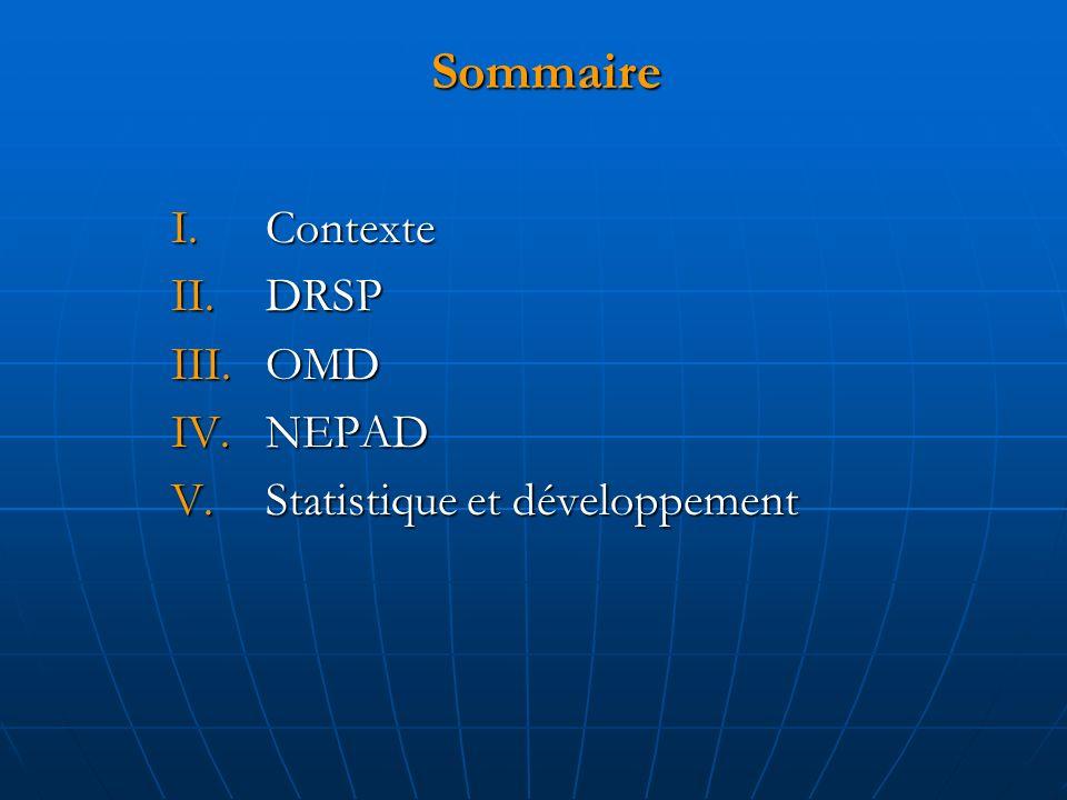 Sommaire I.Contexte II.DRSP III.OMD IV.NEPAD V.Statistique et développement