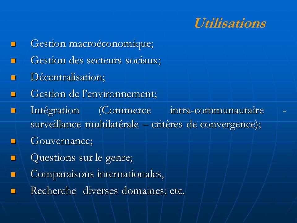 Gestion macroéconomique; Gestion macroéconomique; Gestion des secteurs sociaux; Gestion des secteurs sociaux; Décentralisation; Décentralisation; Gestion de lenvironnement; Gestion de lenvironnement; Intégration (Commerce intra-communautaire - surveillance multilatérale – critères de convergence); Intégration (Commerce intra-communautaire - surveillance multilatérale – critères de convergence); Gouvernance; Gouvernance; Questions sur le genre; Questions sur le genre; Comparaisons internationales, Comparaisons internationales, Recherche diverses domaines; etc.