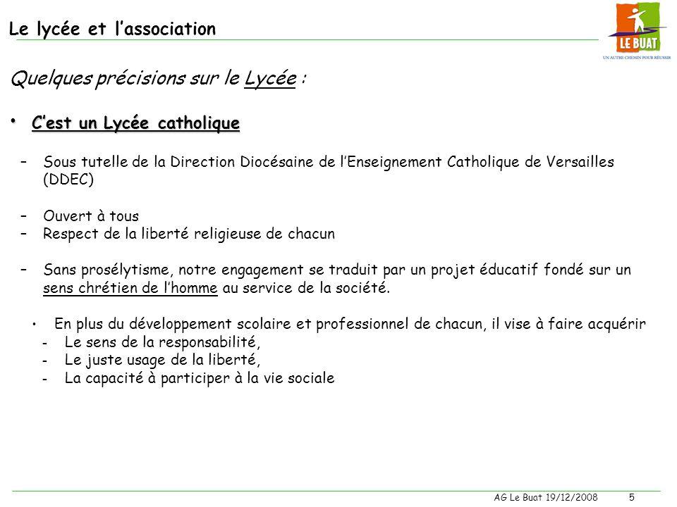 AG Le Buat 19/12/20084 Le lycée et lassociation Quelques précisions sur le Lycée : Cest un Lycée agricole : A ce titre, la loi nous confie 5 missions
