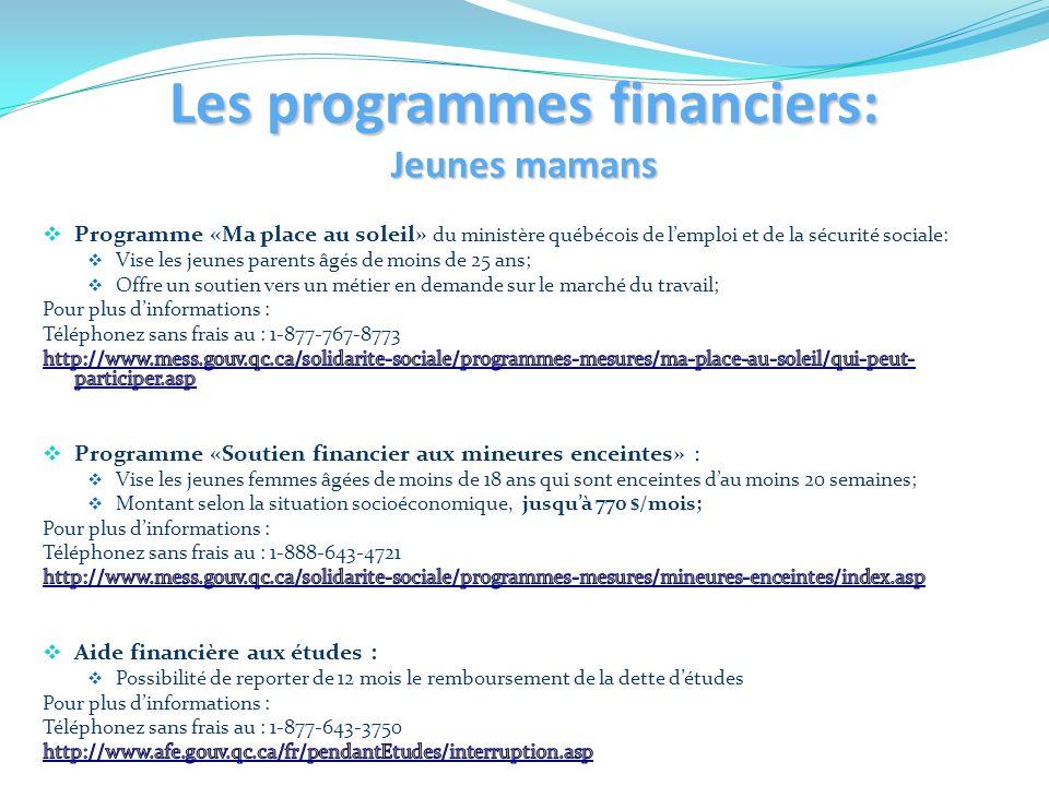 Les programmes financiers: Jeunes mamans