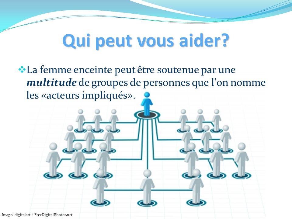 Qui peut vous aider? La femme enceinte peut être soutenue par une multitude de groupes de personnes que l'on nomme les «acteurs impliqués». Image: dig