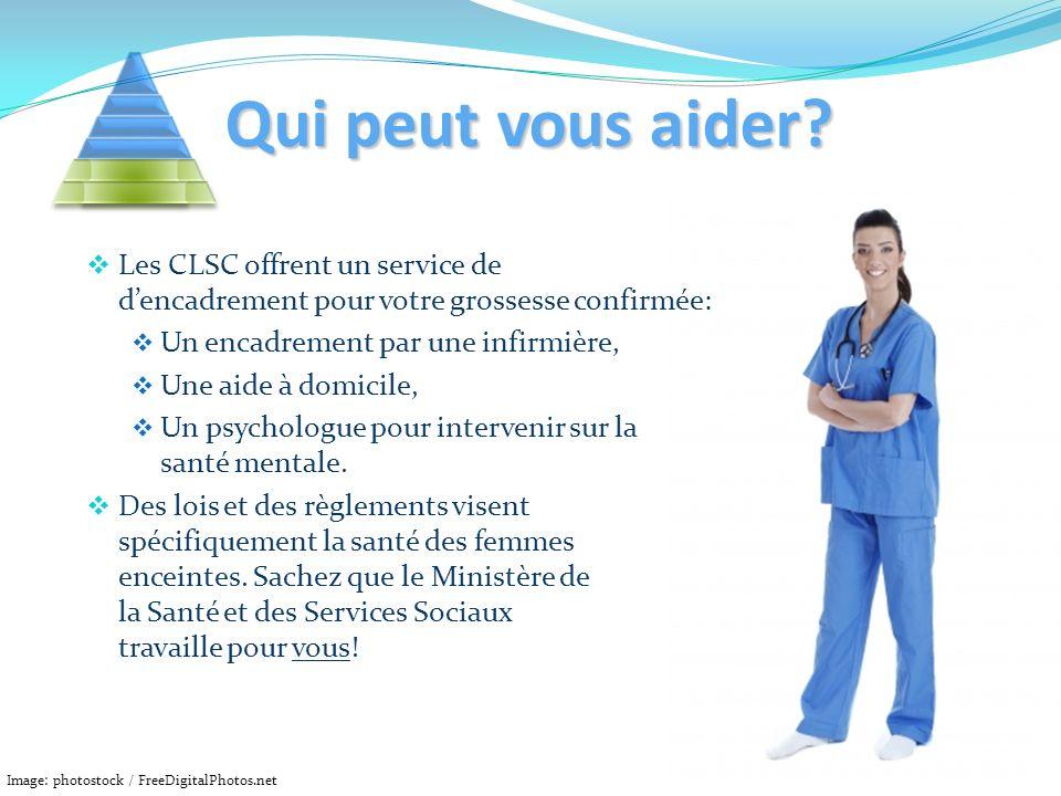 Qui peut vous aider? Les CLSC offrent un service de dencadrement pour votre grossesse confirmée: Un encadrement par une infirmière, Une aide à domicil