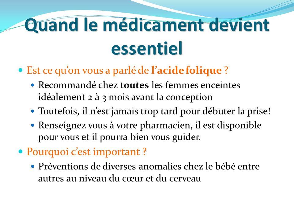 Quand le médicament devient essentiel Est ce quon vous a parlé de lacide folique ? Recommandé chez toutes les femmes enceintes idéalement 2 à 3 mois a