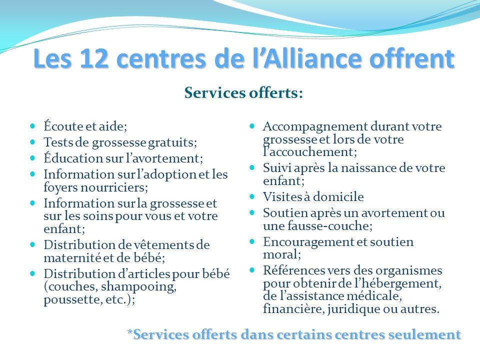 Les 12 centres de lAlliance offrent Services offerts: Écoute et aide; Tests de grossesse gratuits; Éducation sur lavortement; Information sur ladoptio
