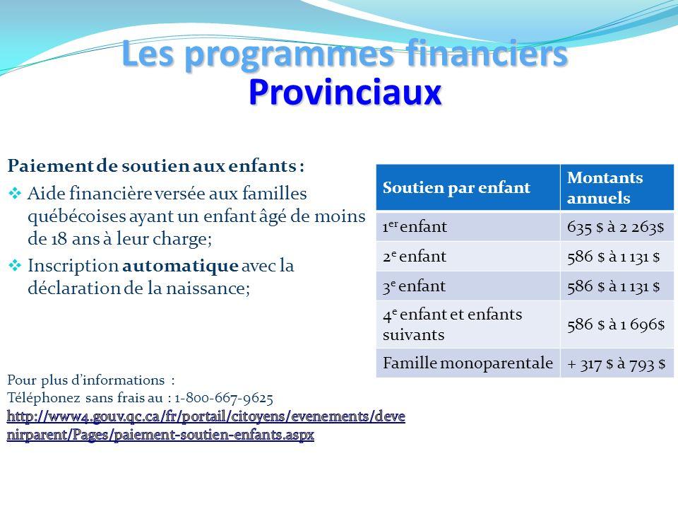 Paiement de soutien aux enfants : Aide financière versée aux familles québécoises ayant un enfant âgé de moins de 18 ans à leur charge; Inscription au