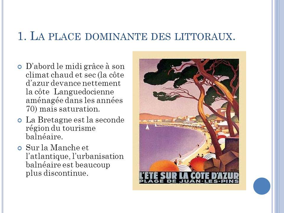 1. L A PLACE DOMINANTE DES LITTORAUX. Dabord le midi grâce à son climat chaud et sec (la côte dazur devance nettement la côte Languedocienne aménagée