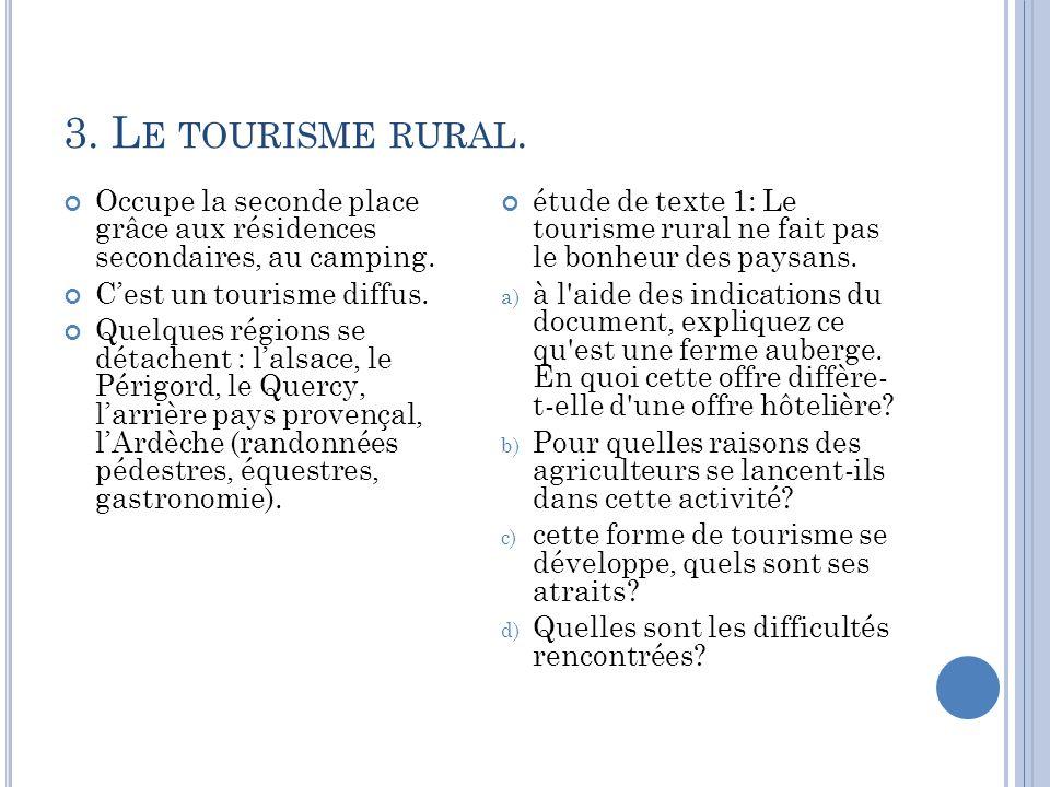3. L E TOURISME RURAL. Occupe la seconde place grâce aux résidences secondaires, au camping. Cest un tourisme diffus. Quelques régions se détachent :