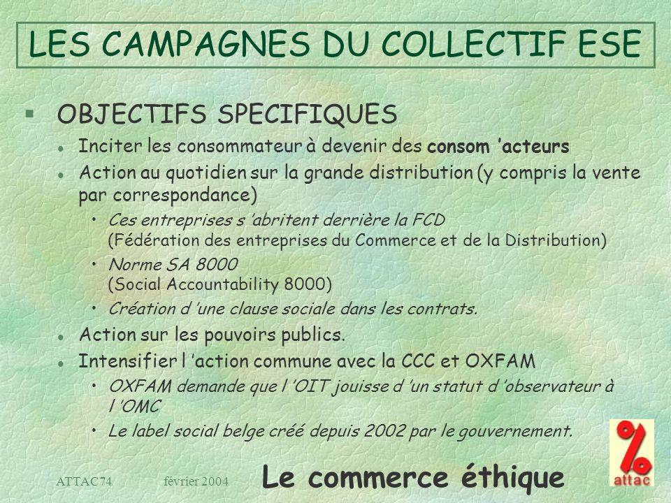 Le commerce éthique février 2004ATTAC74 LES CAMPAGNES DU COLLECTIF ESE § OBJECTIFS SPECIFIQUES l Inciter les consommateur à devenir des consom acteurs
