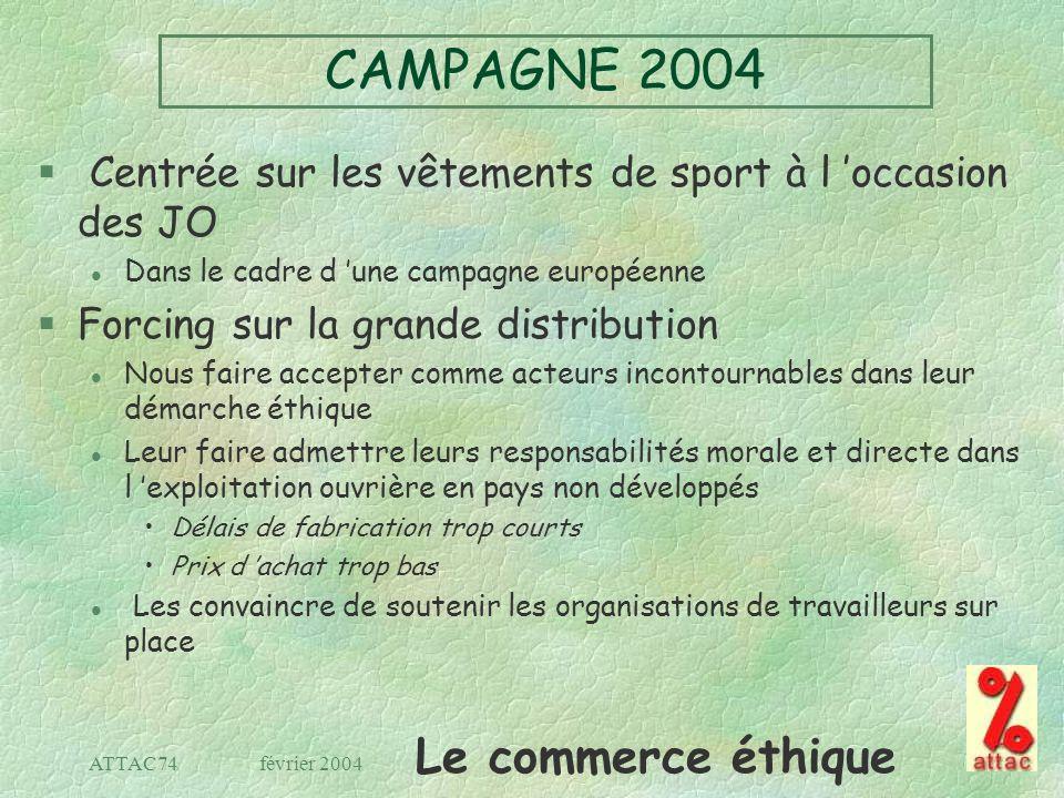 Le commerce éthique février 2004ATTAC74 CAMPAGNE 2004 § Centrée sur les vêtements de sport à l occasion des JO l Dans le cadre d une campagne européen