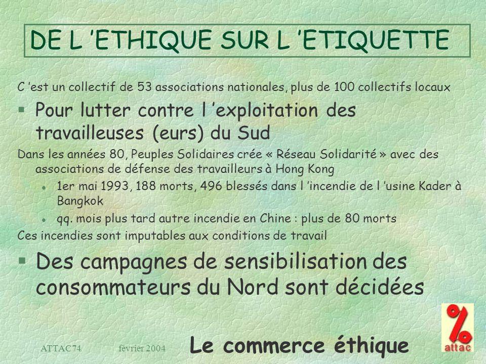 Le commerce éthique février 2004ATTAC74 DE L ETHIQUE SUR L ETIQUETTE C est un collectif de 53 associations nationales, plus de 100 collectifs locaux §