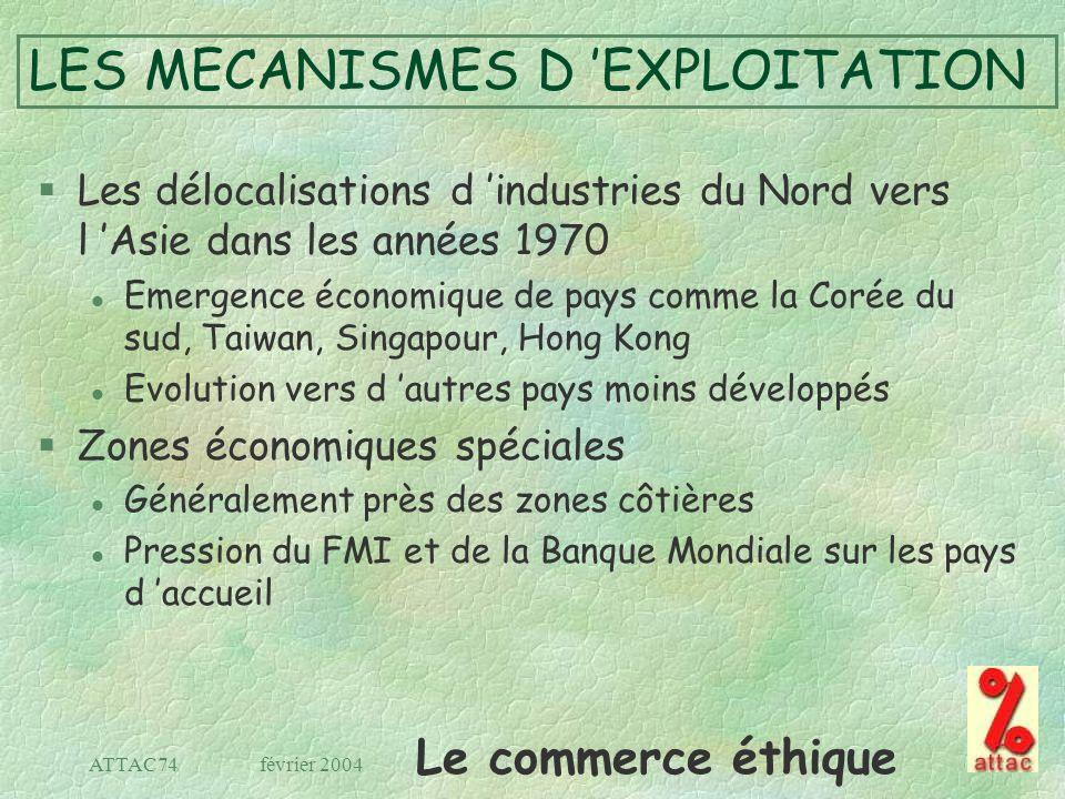 Le commerce éthique février 2004ATTAC74 LES MECANISMES D EXPLOITATION §Les délocalisations d industries du Nord vers l Asie dans les années 1970 l Eme