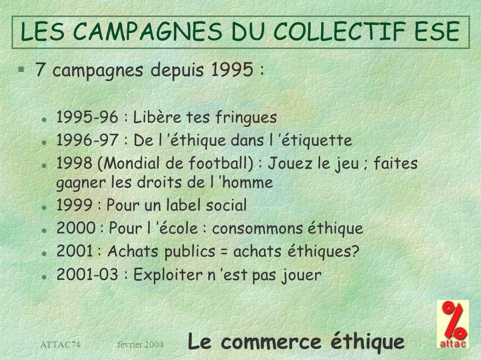 Le commerce éthique février 2004ATTAC74 LES CAMPAGNES DU COLLECTIF ESE §7 campagnes depuis 1995 : l 1995-96 : Libère tes fringues l 1996-97 : De l éth