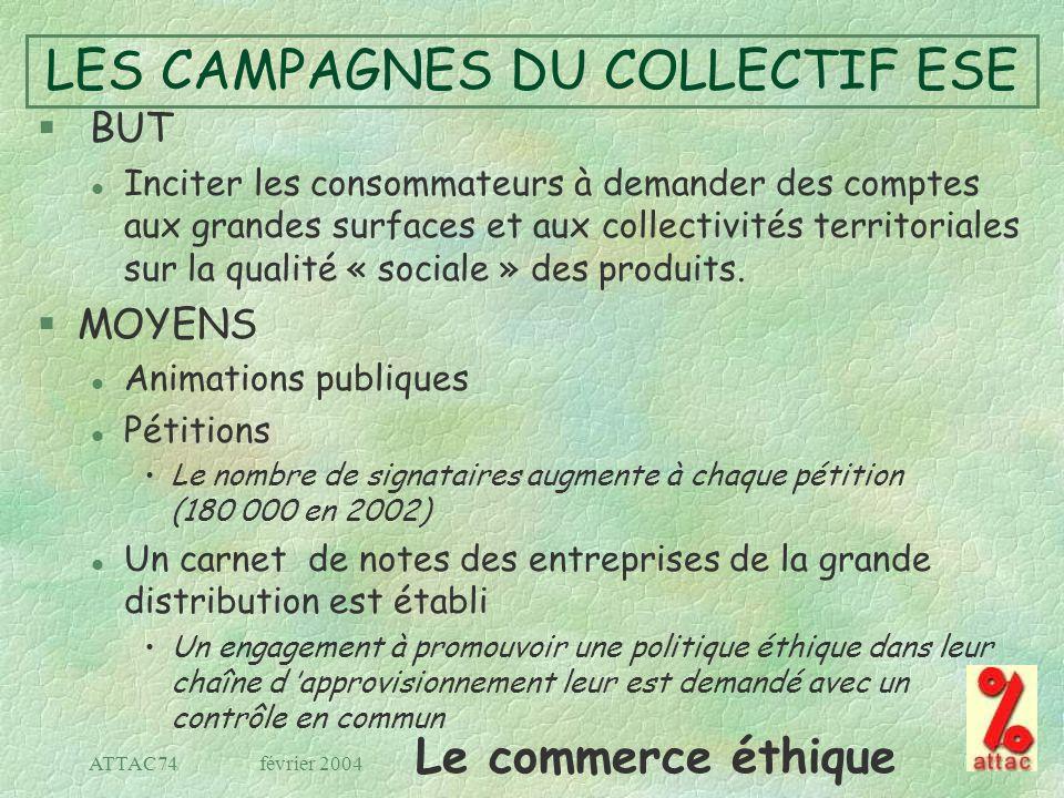 Le commerce éthique février 2004ATTAC74 LES CAMPAGNES DU COLLECTIF ESE § BUT l Inciter les consommateurs à demander des comptes aux grandes surfaces e