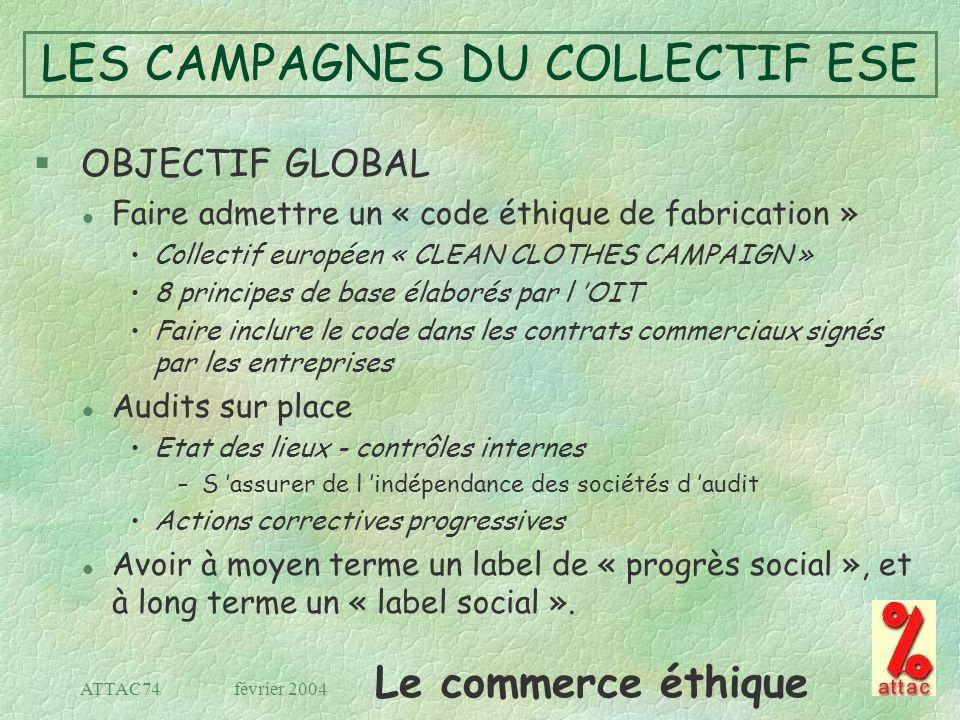Le commerce éthique février 2004ATTAC74 LES CAMPAGNES DU COLLECTIF ESE § OBJECTIF GLOBAL l Faire admettre un « code éthique de fabrication » Collectif