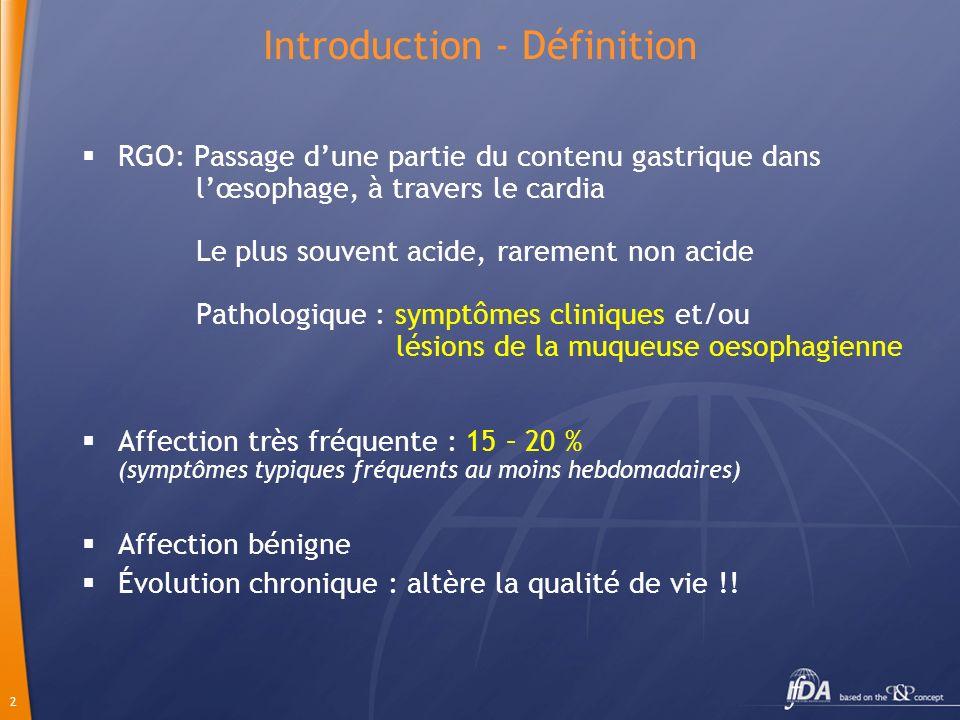 2 Introduction - Définition RGO: Passage dune partie du contenu gastrique dans lœsophage, à travers le cardia Le plus souvent acide, rarement non acid