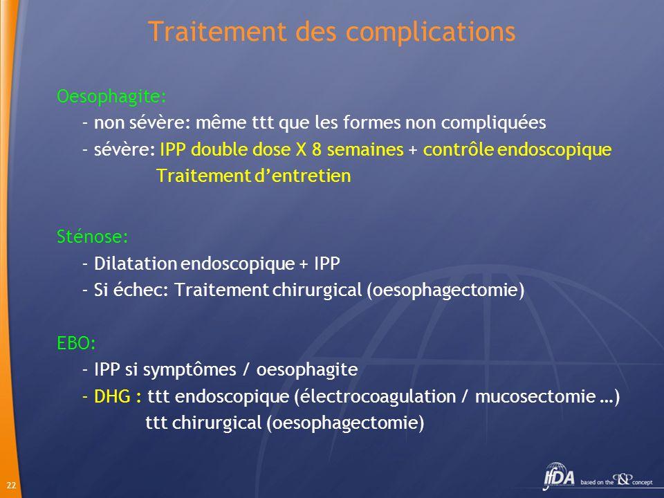 22 Traitement des complications Oesophagite: - non sévère: même ttt que les formes non compliquées - sévère: IPP double dose X 8 semaines + contrôle e