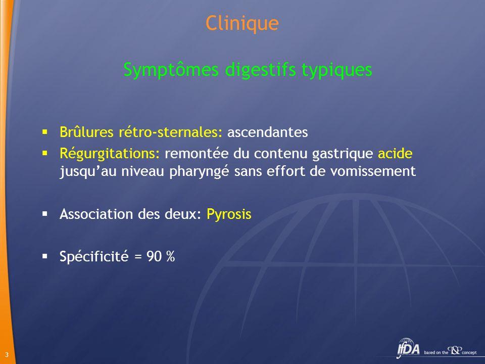 3 Clinique Brûlures rétro-sternales: ascendantes Régurgitations: remontée du contenu gastrique acide jusquau niveau pharyngé sans effort de vomissemen