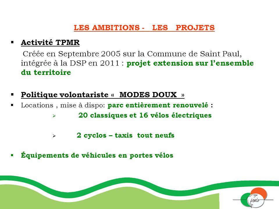 LES AMBITIONS - LES PROJETS Activité TPMR Créée en Septembre 2005 sur la Commune de Saint Paul, intégrée à la DSP en 2011 : projet extension sur lense