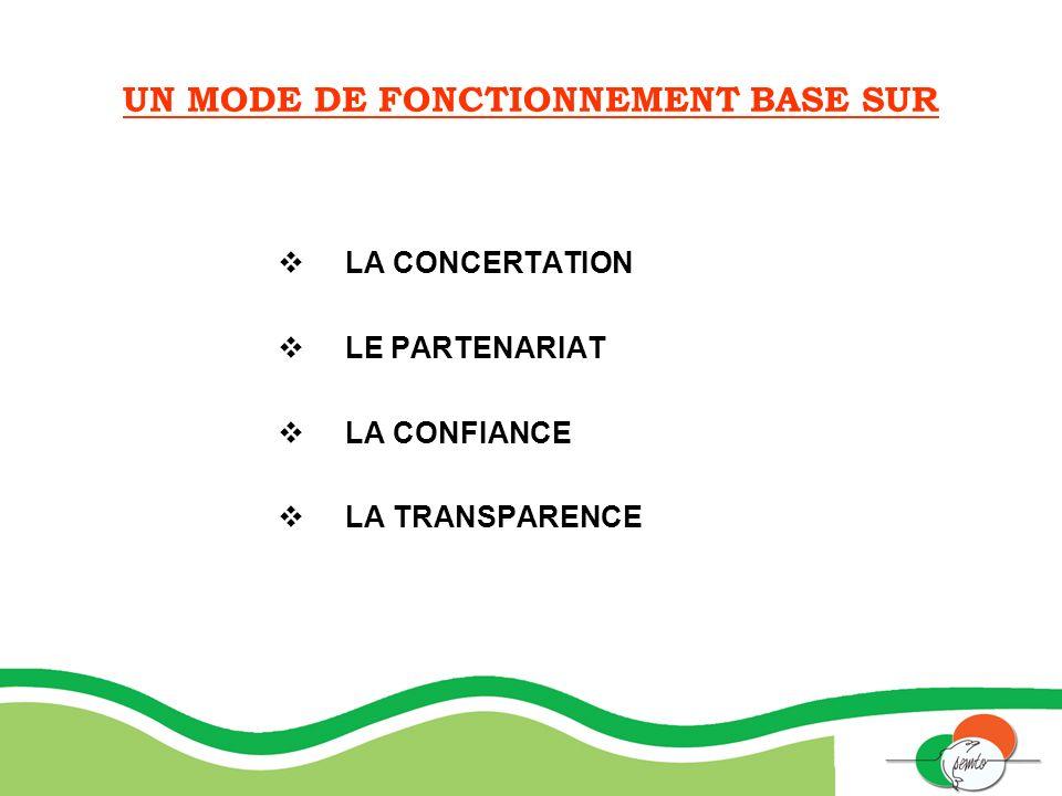 UN MODE DE FONCTIONNEMENT BASE SUR LA CONCERTATION LE PARTENARIAT LA CONFIANCE LA TRANSPARENCE