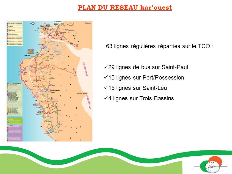 PLAN DU RESEAU karouest 63 lignes régulières réparties sur le TCO : 29 lignes de bus sur Saint-Paul 15 lignes sur Port/Possession 15 lignes sur Saint-