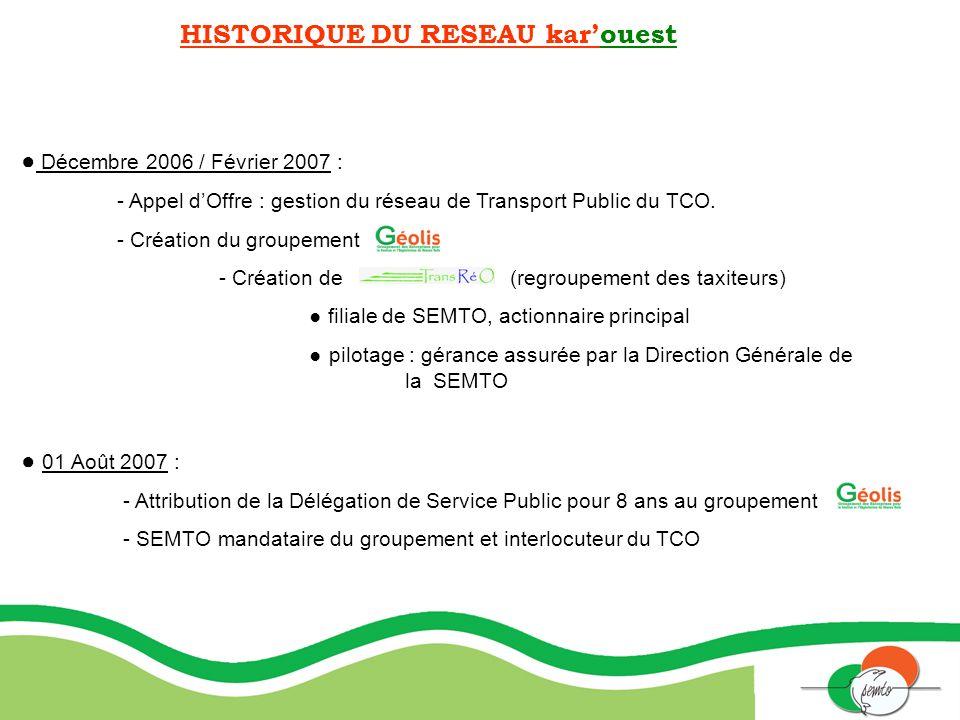HISTORIQUE DU RESEAU karouest Décembre 2006 / Février 2007 : - Appel dOffre : gestion du réseau de Transport Public du TCO. - Création du groupement -