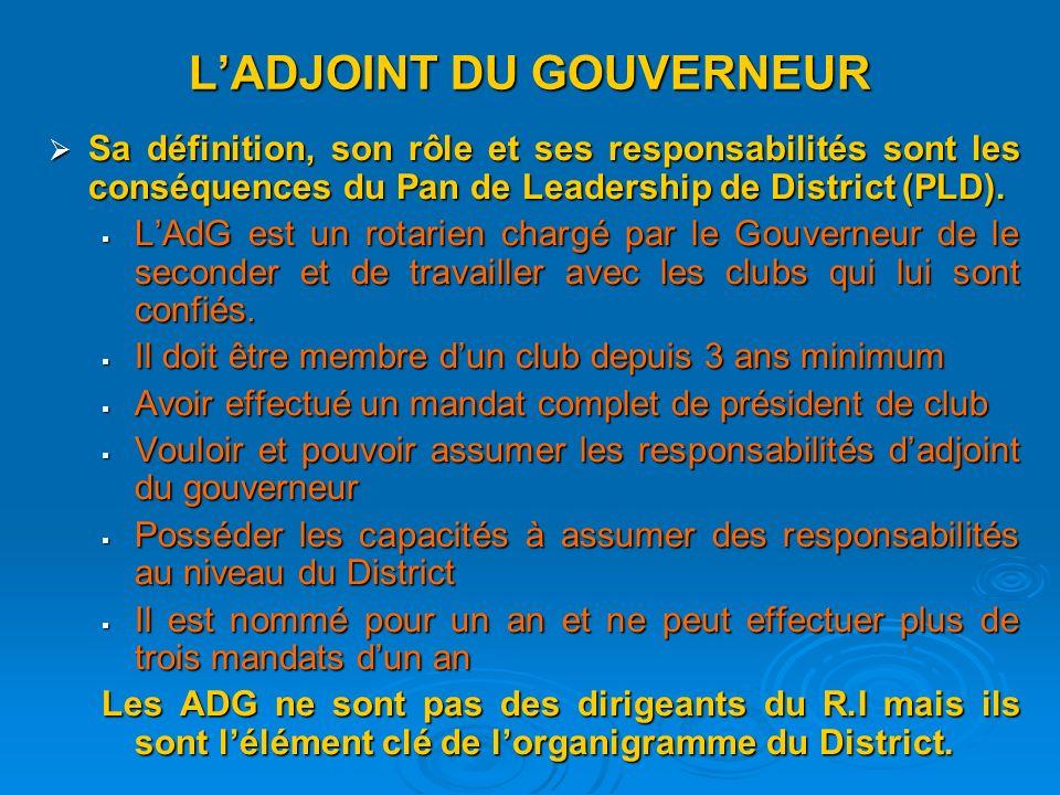 LADJOINT DU GOUVERNEUR Sa définition, son rôle et ses responsabilités sont les conséquences du Pan de Leadership de District (PLD).