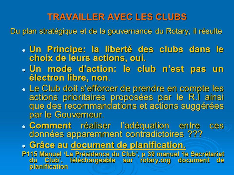 TRAVAILLER AVEC LES CLUBS Du plan stratégique et de la gouvernance du Rotary, il résulte Un Principe: la liberté des clubs dans le choix de leurs actions, oui.