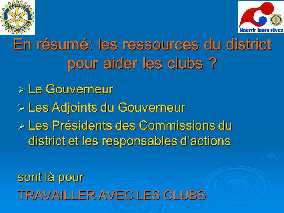 En résumé: les ressources du district pour aider les clubs ? Le Gouverneur Le Gouverneur Les Adjoints du Gouverneur Les Adjoints du Gouverneur Les Pré