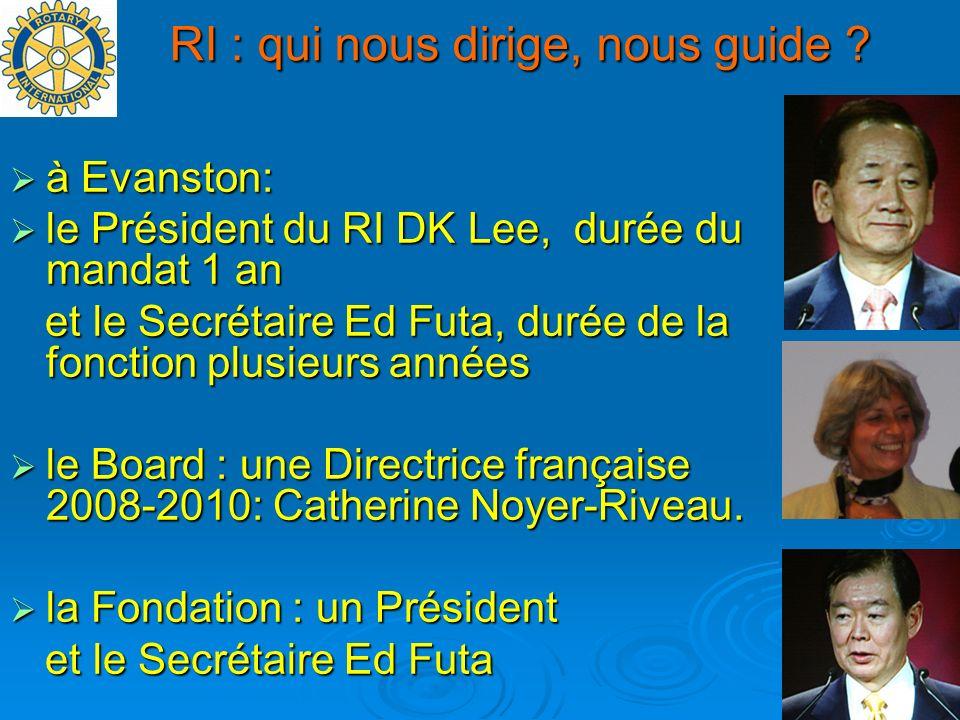 RI : qui nous dirige, nous guide ? à Evanston: à Evanston: le Président du RI DK Lee, durée du mandat 1 an le Président du RI DK Lee, durée du mandat