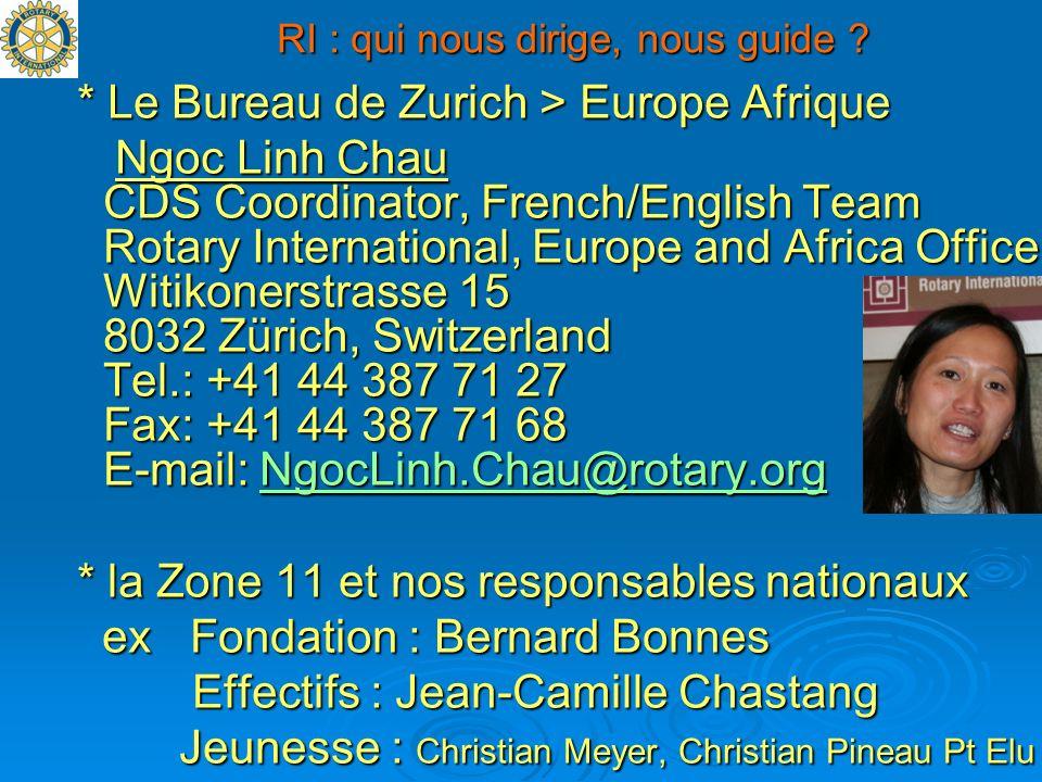 RI : qui nous dirige, nous guide ? * Le Bureau de Zurich > Europe Afrique * Le Bureau de Zurich > Europe Afrique Ngoc Linh Chau CDS Coordinator, Frenc