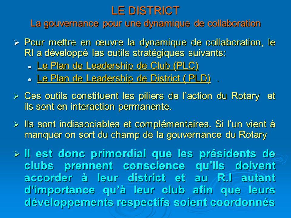 LE DISTRICT La gouvernance pour une dynamique de collaboration Pour mettre en œuvre la dynamique de collaboration, le RI a développé les outils straté
