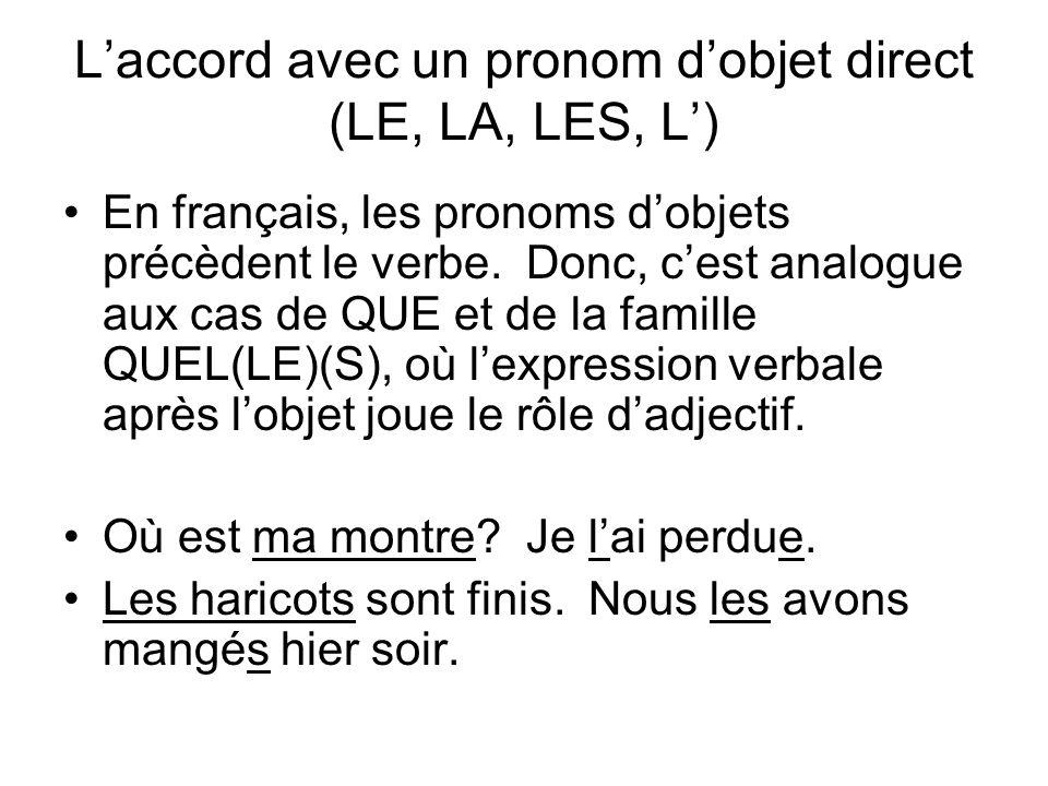 Laccord avec un pronom dobjet direct (LE, LA, LES, L) En français, les pronoms dobjets précèdent le verbe. Donc, cest analogue aux cas de QUE et de la