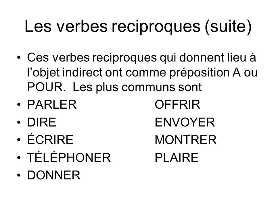 Les verbes reciproques (suite) Ces verbes reciproques qui donnent lieu à lobjet indirect ont comme préposition A ou POUR. Les plus communs sont PARLER