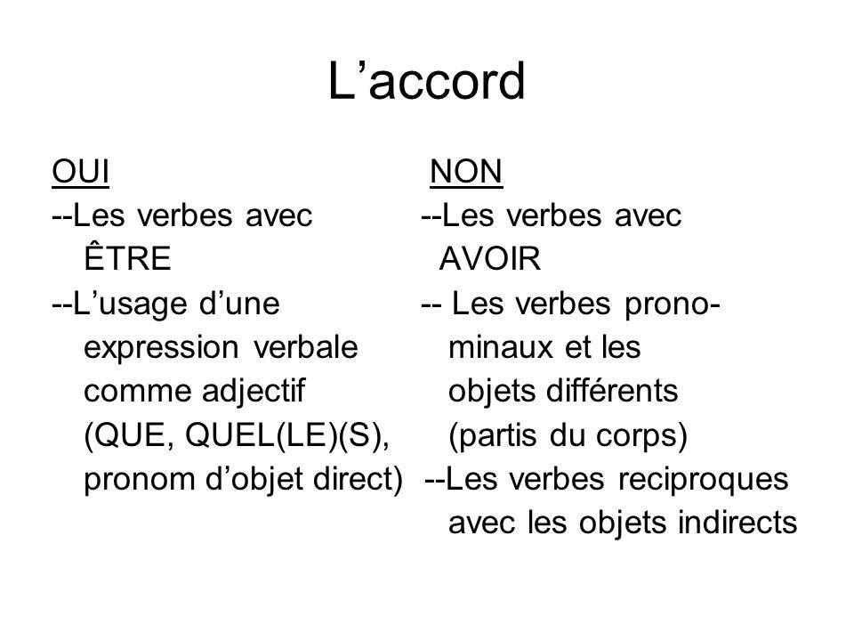 Laccord OUI NON --Les verbes avec ÊTRE AVOIR --Lusage dune -- Les verbes prono- expression verbale minaux et les comme adjectif objets différents (QUE, QUEL(LE)(S), (partis du corps) pronom dobjet direct) --Les verbes reciproques avec les objets indirects