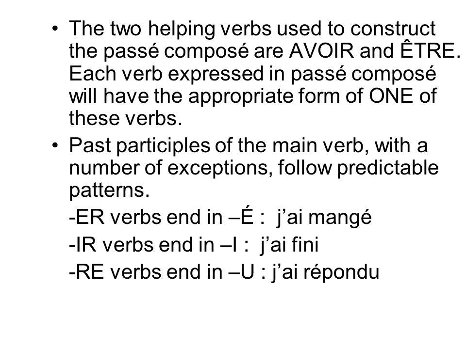 LE PASSÉ COMPOSÉ AVEC AVOIR Most verbs use AVOIR as their helping verb in the passé composé.