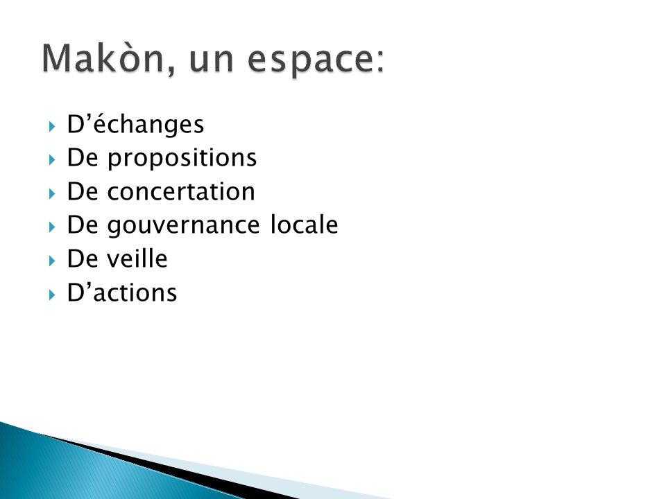 Déchanges De propositions De concertation De gouvernance locale De veille Dactions