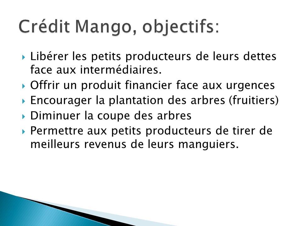 Libérer les petits producteurs de leurs dettes face aux intermédiaires. Offrir un produit financier face aux urgences Encourager la plantation des arb