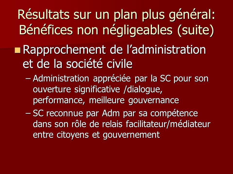 Résultats sur un plan plus général: Bénéfices non négligeables (suite) Rapprochement de ladministration et de la société civile Rapprochement de ladmi