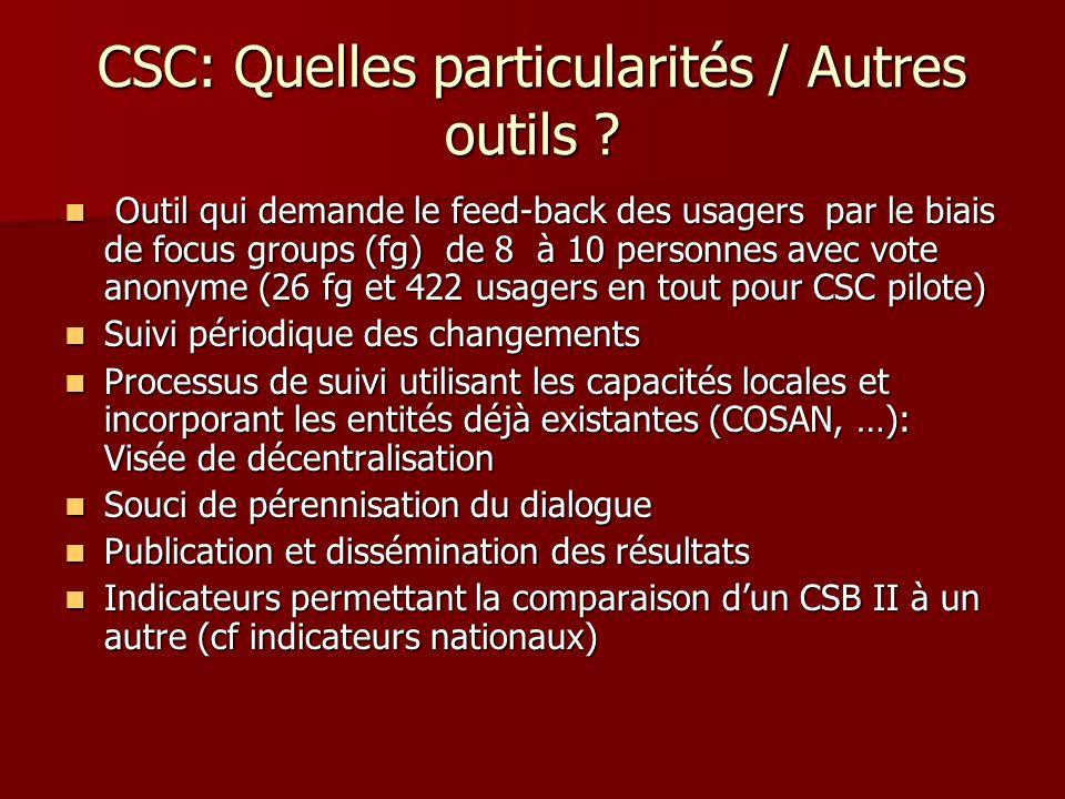 CSC: Quelles particularités / Autres outils ? Outil qui demande le feed-back des usagers par le biais de focus groups (fg) de 8 à 10 personnes avec vo