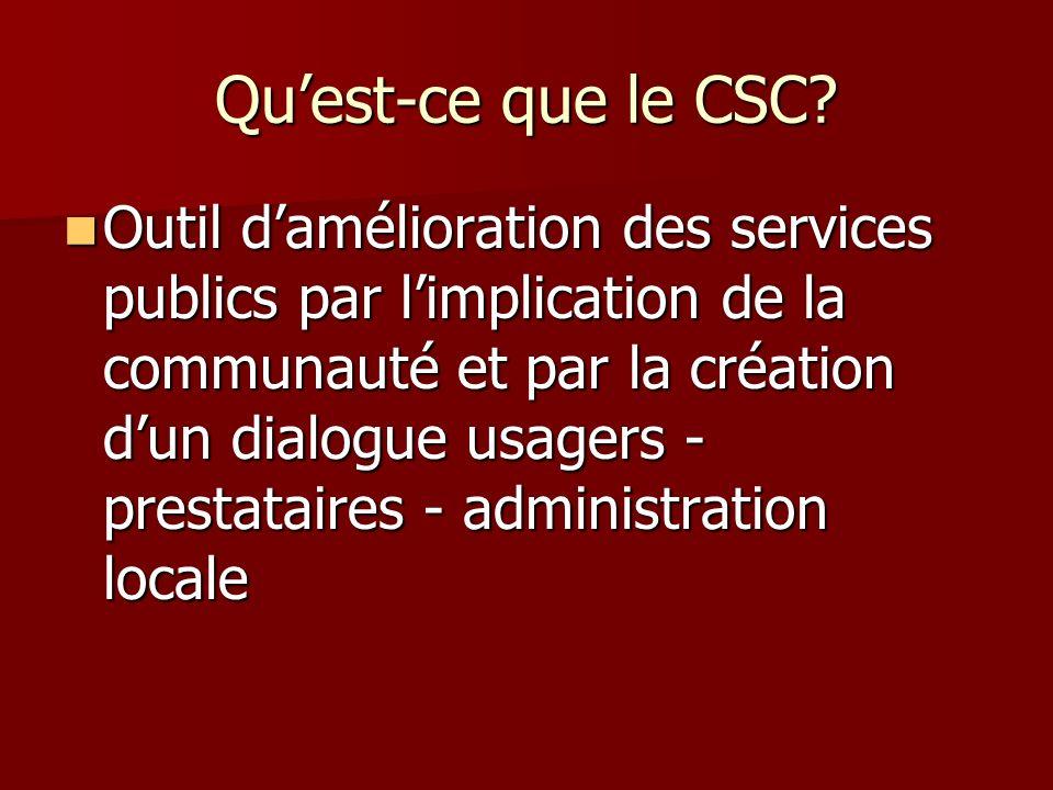 Quest-ce que le CSC? Outil damélioration des services publics par limplication de la communauté et par la création dun dialogue usagers - prestataires