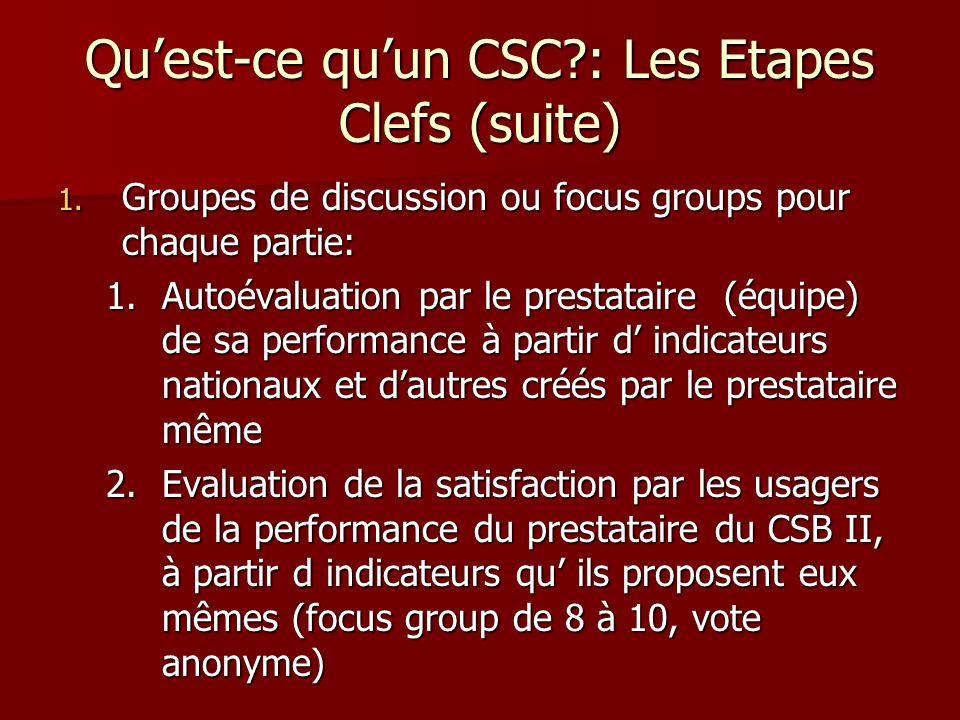 Quest-ce quun CSC?: Les Etapes Clefs (suite) 1. Groupes de discussion ou focus groups pour chaque partie: 1.Autoévaluation par le prestataire (équipe)