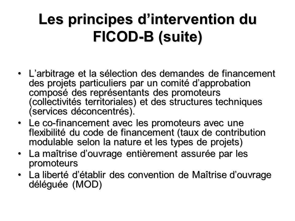 Les principes dintervention du FICOD-B (suite) Larbitrage et la sélection des demandes de financement des projets particuliers par un comité dapprobat