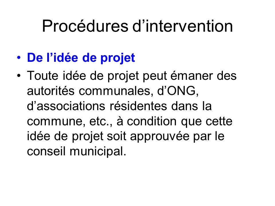 Procédures dintervention De lidée de projet Toute idée de projet peut émaner des autorités communales, dONG, dassociations résidentes dans la commune,